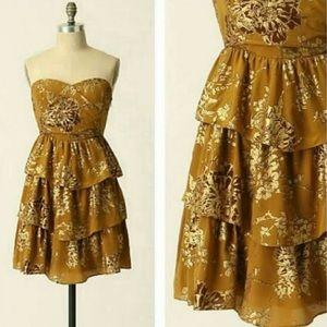 Anthropologie Moulinette Soeurs Gold Ruffle Dress